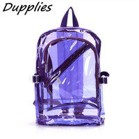 Dupplies Plastic candy color transparent backpack women fluorescent bag girls boys PVC school backpacks shoulder bags