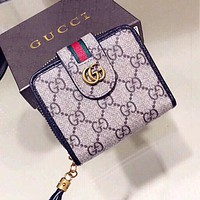 GUCCI High Quality Women Men Retro Leather Buckle Wallet Purse