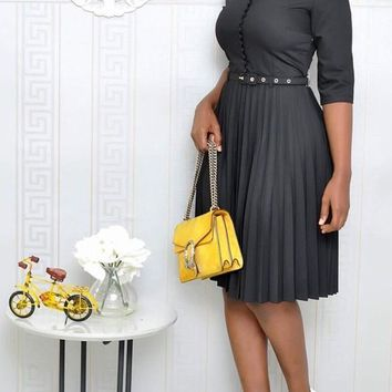 Black Pleated Single Breasted Belt Bow High Waisted Ruched Elegant Party Midi Dress