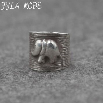 Fyla Mode Vintage Punk Ring Carved Antique Thai Silver Elephant Pattern Lucky Rings Anillos for Women Boho Beach Jewelry PKY259