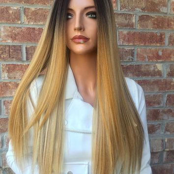 """Shannon Dark Ombre Blond 20"""" Lace front wig"""