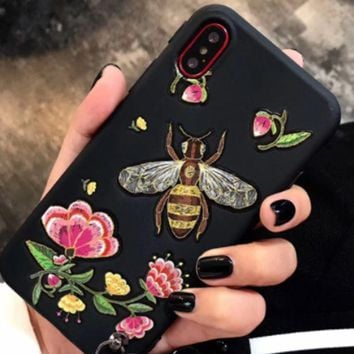 ac NOVQ2A Gucci Bee Flower honeybee iphone8X mobile phone shell hanging line iphone7plus personal embossed creative girl