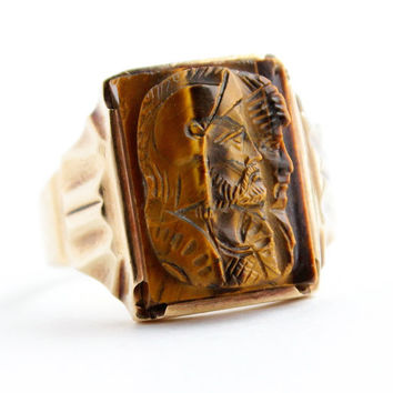 Antique Art Deco 10K Yellow Gold Mens Cameo Ring -  Tigers Eye Roman Soldier Vintage Size 10 1/2 Fine Jewelry / Bronzed Brown Double Warrior