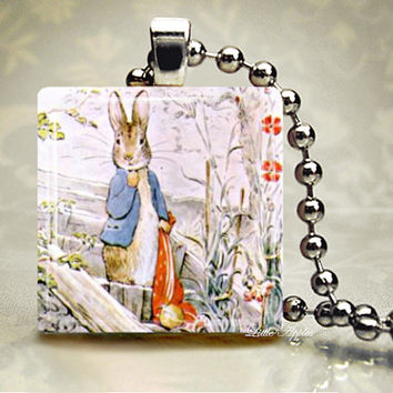 Peter rabbit in garden 1 inch glass tile pendant necklace woodlands easter