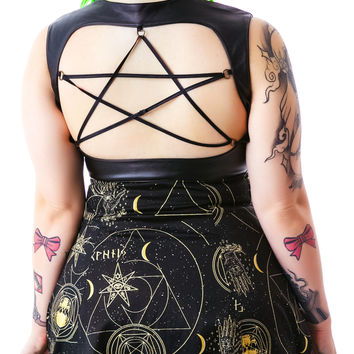 Hell Bunny Pentagram Constellations Belted Mini Dress Black