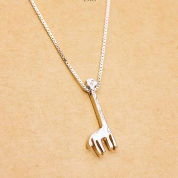 Real. 925 Sterling Silver Safari Giraffe Pendent Necklace For Women African Animal  Sterling-silver-jewelry Boho GTLX623