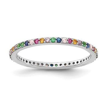 Sterling Silver Multi Color Rainbow CZ Thin 1.5mm Eternity Band Ring