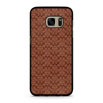 Coach New York Brown Leather 1 Samsung Galaxy S7 Case