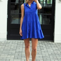 Royal Blue Tiered Dress -$75.00 | Hand In Pocket Boutique