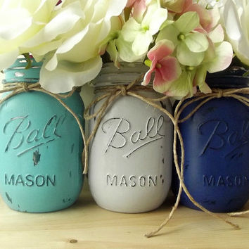Painted Mason Jars, Three - Hand Painted Mason Jars - Blue, Grey and Turquoise