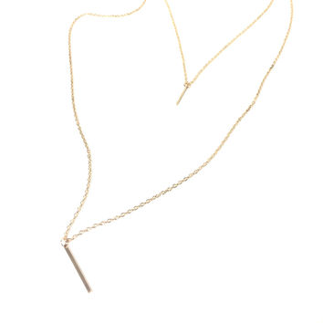 Gold Bar Double Layered Necklace