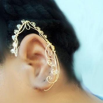 Wire Elven Ear Cuff Elvish Ear Cuff -Fantasy Jewelry -2 Fairy ears-11 colours-Wire Elf Earring