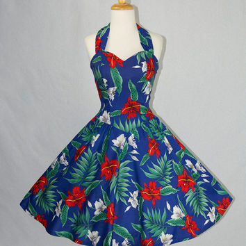 Vintage 80s Hawaiian Bombshell Halter Circle Sun Dress