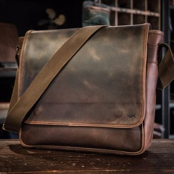 Roosevelt Men's Leather Satchel Messenger Bag - Dark Walnut