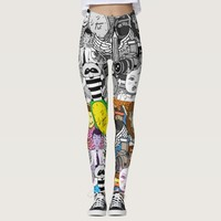 Two Colors Doodles Illustrations Leggings