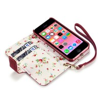 iPhone 5C Premium Faux Leather Wallet Case with Floral Interior (Red Floral)