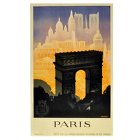 """Paris,"" Original Vintage 1930s Art Deco Travel Poster by Robert Falcucci"