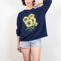 Vintage 90s Sweatshirt Navy Blue Sunflower Print Sweatshirt Soft Grunge Sweater 1990s Grunge Pullover Tshirt Top Hipster Jumper L Large XL