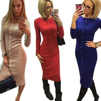 Knitting Midi Dress 2018 Warm Women Knitted Mid-calf O-neck Skinny Dresses Package Hip Sheath Bodycon Dress with Buttons  +-