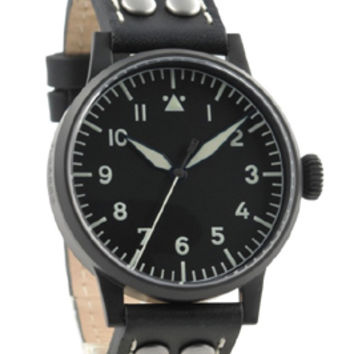 Laco Damme Black Quartz Pilot Watch
