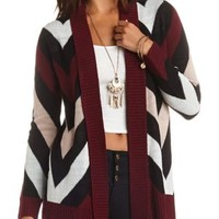 Chevron Open Cardigan Sweater by Charlotte Russe - Burgundy Cmb