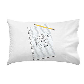 'Sketching Escape' Funny Bear Drawing Punching on Paper - Pillow Case Single Pillowcase
