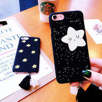 For iPhone 7 Case Cartoon Star Blink Black Matte Hard PC Plastic Back Case for iPhone 7 6 6S Plus Phone Cases Tassel Cover