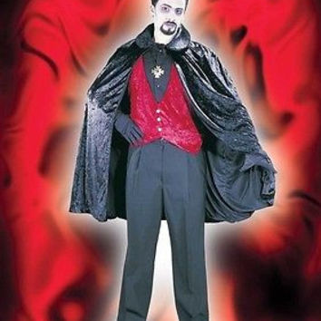 "Black Velvet Dracula Costume 44"" Vampire Cape with Collar & Tie Strap"