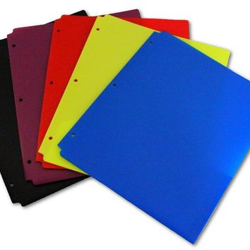 "Plastic Two Pocket Folders - 8.5"""" x 11"""" assorted colors Case Pack 100"