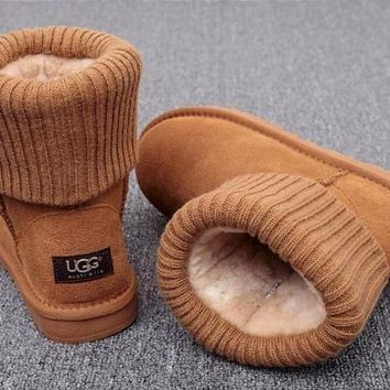 Trendsetter UGG Plush Leather Boots Boots In Tube Boots Shoes