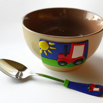 Funny Cereal Bowl set, Cereal spoon,  Tractor design, redneck