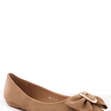 Faux Leather Bow Ballet Pumps