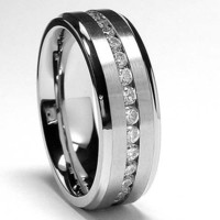8MM High Polish / Matte Finish Eternity Stainless Steel ring with CZ size 10