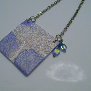 Tree of Life Essential Oil Diffuser Necklace Handmade Clay Aromatherapy Scent Diffuser with Tree of Life Embossing Silver & Blue Silver