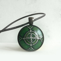 Trendy Emerald Green Necklace, Choker,  Deep Green Necklace, Leather Cord, Hand Painted Art Pendant,