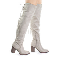 Aspen Clay By Soda, Clay Corset Lace Up Military Inspired Over Knee Boots w High Block Stack Heel
