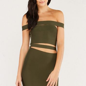 Mid thigh off shoulder bodycon dress with cutout details in Olive.