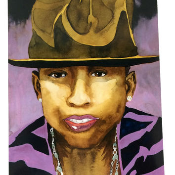 Pharrell Williams Celebrity Watercolor Print Wearing Giant Hat, Famous Musician Singer Pharrell Williams Portrait 8.5 x 11 Artist Print