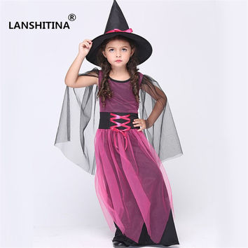 Girl Kids Children Halloween Costumes Witch Wizard Cloak Gown Robe and Hat Cap Stars Fancy Cosplay for Children Boys Girls QU30
