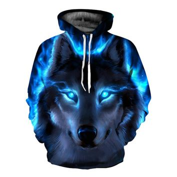EHUANHOOD 2018 Funny Wolf Hoodies Men 3D Sweatshirt Harajuku Hoody Anime Tracksuit 3D Print Coat Casual Jacket Hooded Pullover