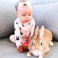 New Baby Creeper Long Sleeve Clothing pink rabbit for Newborns Boy Girl Polar Baby Clothes