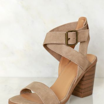 Step My Way Strappy Heel Taupe