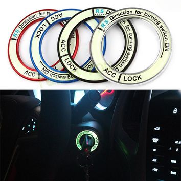 Luminous Alloy Car Ignition Switch Cover Auto Accessories Car Stickers Circle Light Decoration Universal For Car Motorcycle