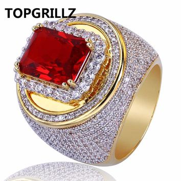 TOPGRILLZ Hip-Hop Classic Gold Color Plated Cubic Zircon Big Red Stone Ring Personality Fashion Men Women Jewelry Lover Gift