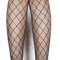 Sexy Womens Footed Black Fishnet Pattern Jacquard Stockings Pantyhose Tights