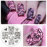 Rose Flower Nail Art Stamping Template Image Plate