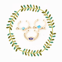Evil Eye Fake Septum Piercing Set, Turqouise Faux Nose Ring