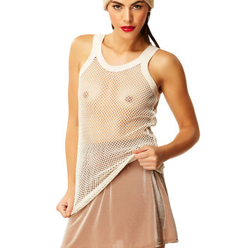 In The Nude Buff Shimmer Mini Skirt