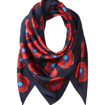 Tory Burch Poppy Floral Silk Square Scarf