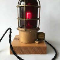 Vintage Industrial Explosion Proof Lamp, Vintage Nautical Lamp, Vintage Industrial Lamp, Man Cave Lighting, Repurposed Desk Lamp